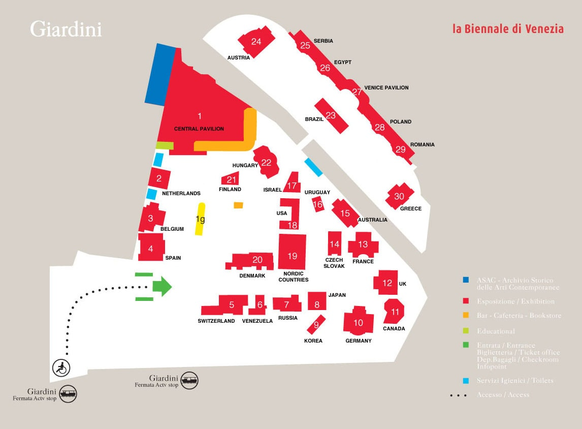 Venice Art Biennale 2017 Giardini map