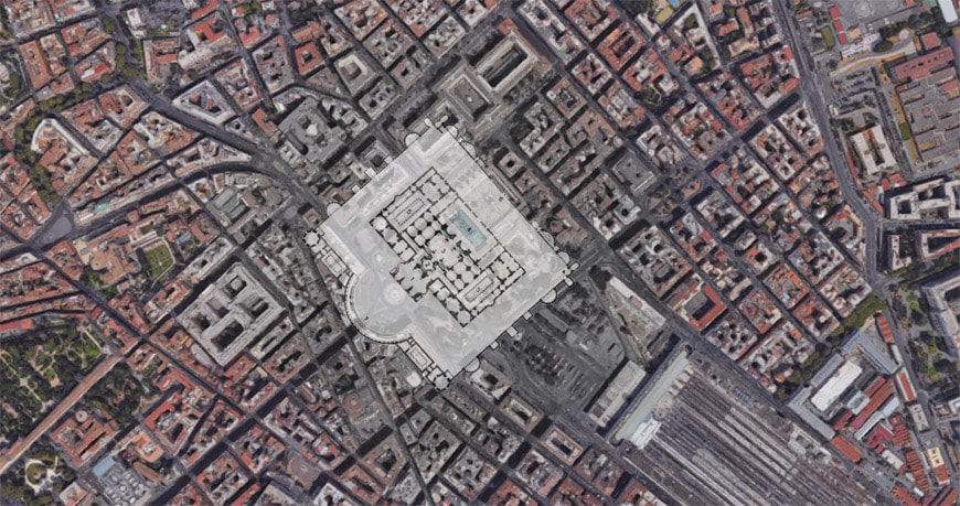 Baths of Diocletian satellite view