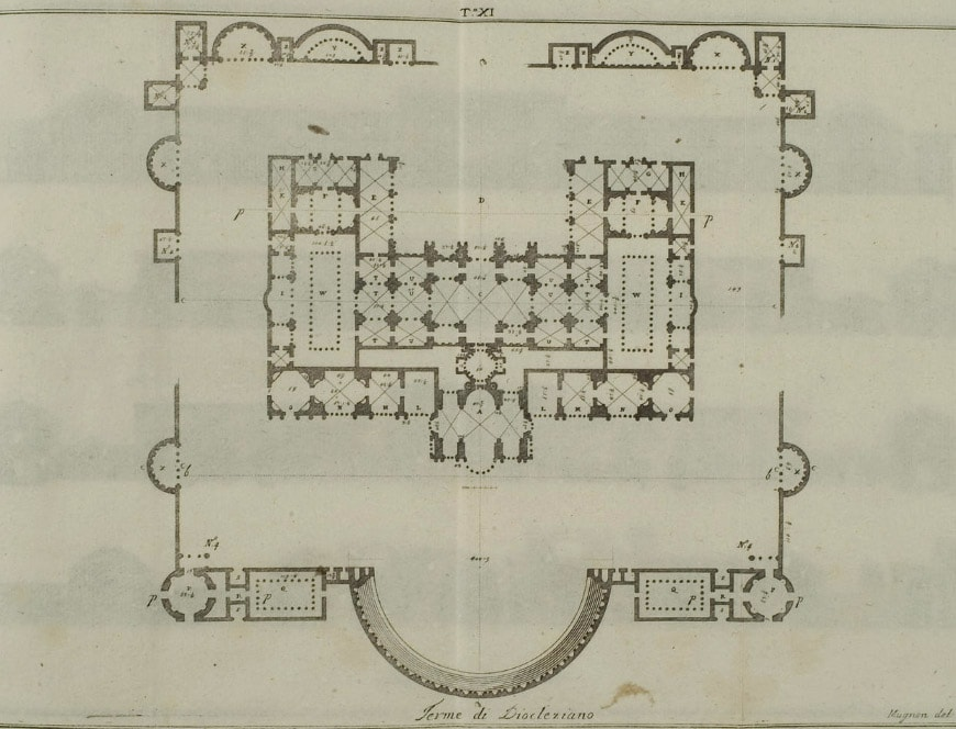 Terme di Diocleziano Rome Diocletian Baths plan Andrea Palladio 2