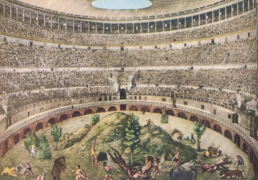 Colosseum Flavian Amphitheater Rome drawing 1930