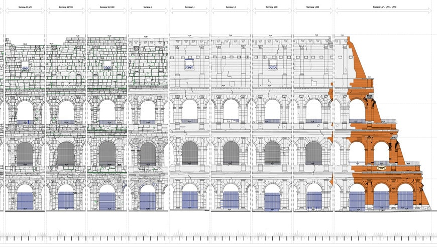 Colosseum Flavian Amphitheater Rome elevation detail