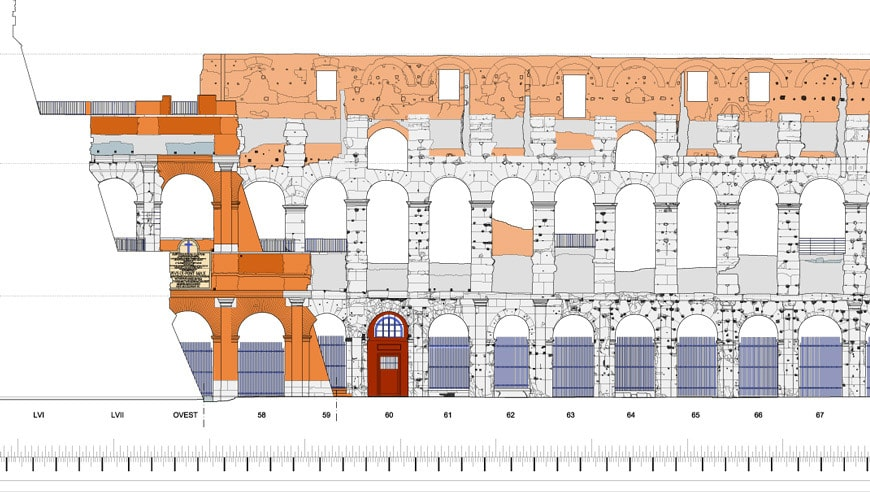 Colosseum Flavian Amphitheater Rome elevation internal detail