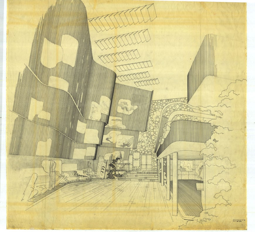 Drawing-of-Alvar-Aalto-Finnish-Pavilion-at-the-New-York-Worlds-Fair-1939-40-Victoria-and-Albert-museum