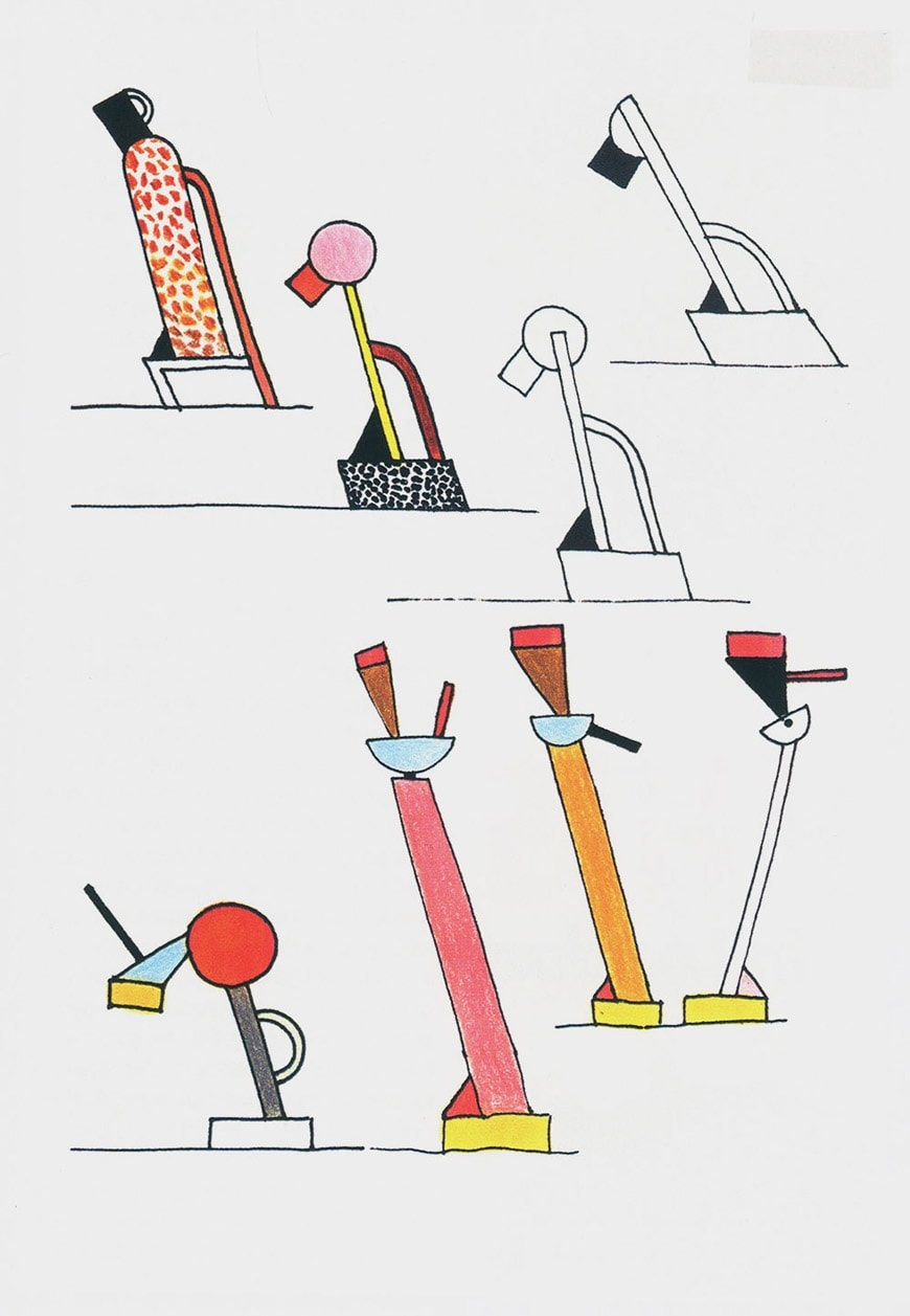 Vitra-Rebel-And-poet-Ettore-Sottsass-drawings-for-lamps-Tahiti-and-Cavalieri-1981