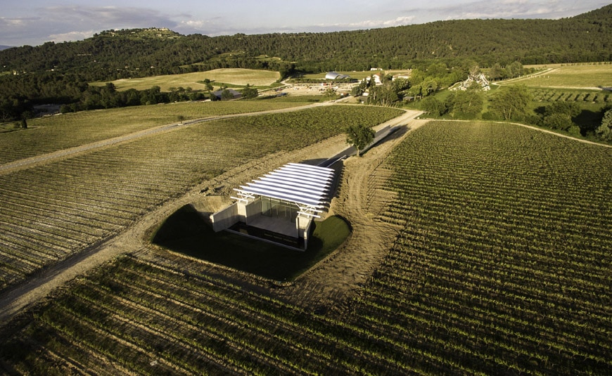 Art Gallery Chateau La Coste Renzo Piano aerial view