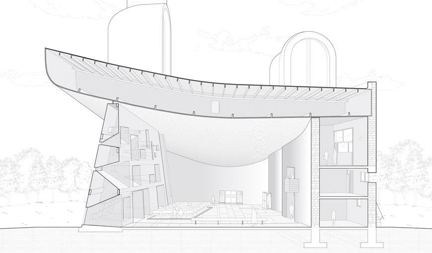 Le Corbusier Notre Dame du Haut Ronchamp Chapel section 1