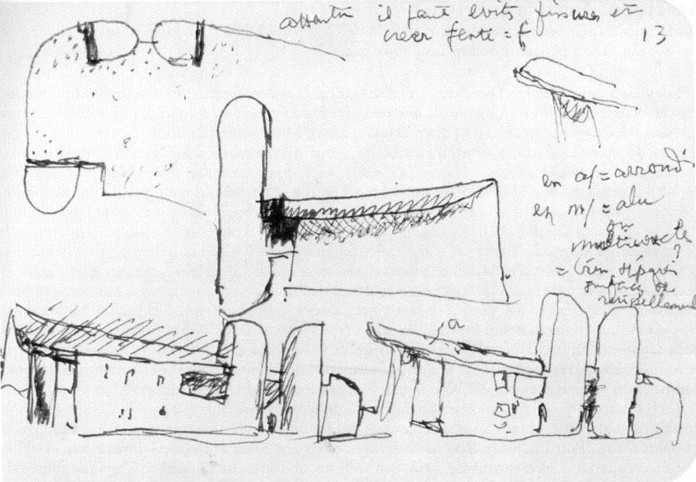 Le Corbusier Notre Dame du Haut Ronchamp Chapel sketch