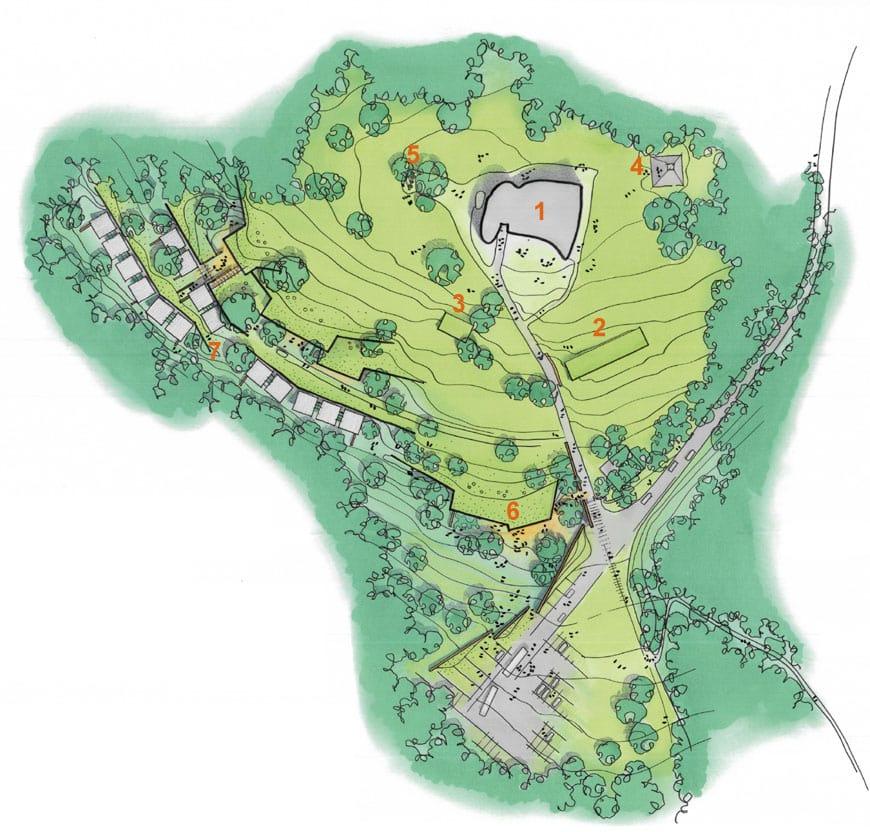 Notre Dame du Haut Ronchamp Le Corbusier + Renzo Piano site plan