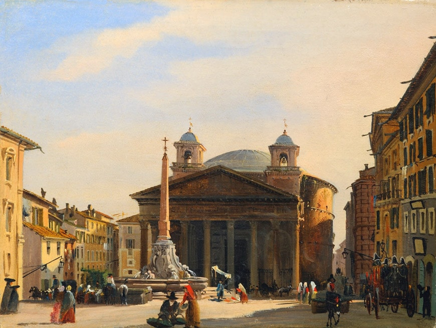 Pantheon Rome painting Ippolito Caffi