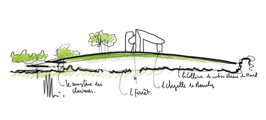 Renzo Piano Notre Dame du Haut Ronchamp Chapel sketch
