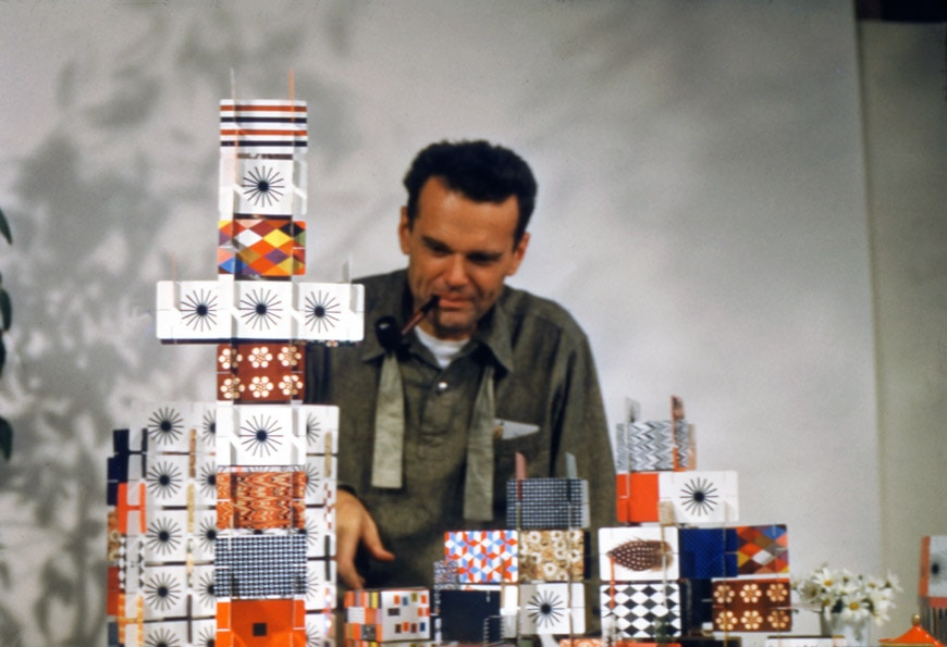 Vitra-An Eames Celebration-Charles Eames playing with the House of Cards-Pattern Deck-1952-Eames Office