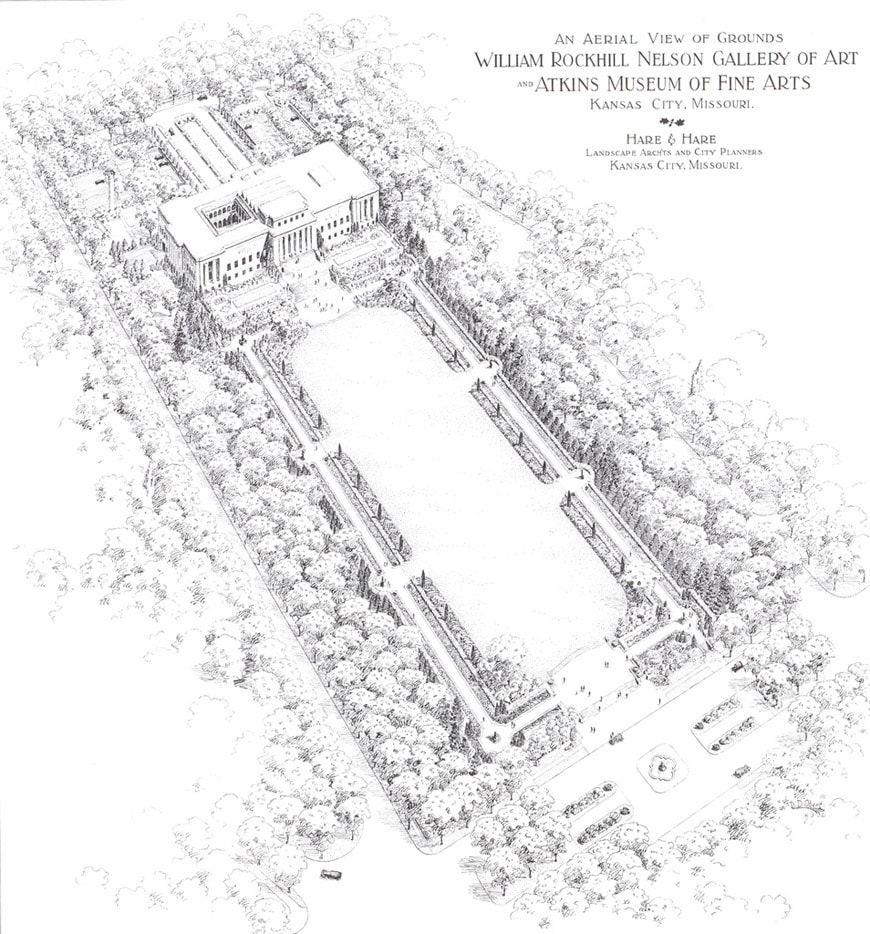 Nelson Atkins Museum historical building bird's eye perspective drawing