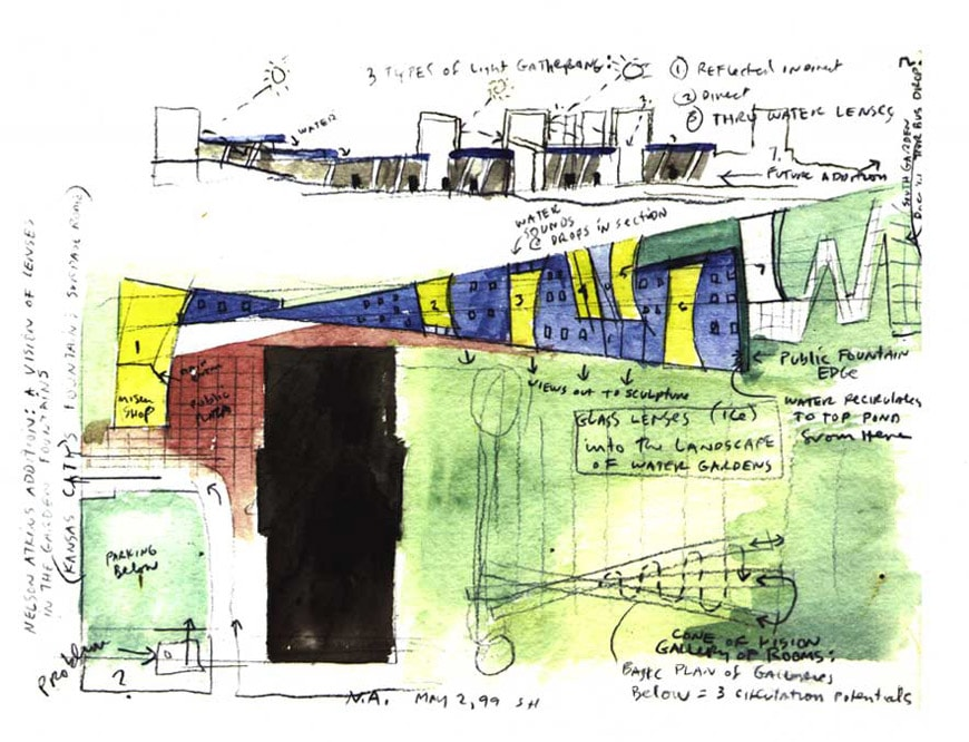 Steven Holl sketch Nelson Atkins Museum of Art Kansas City