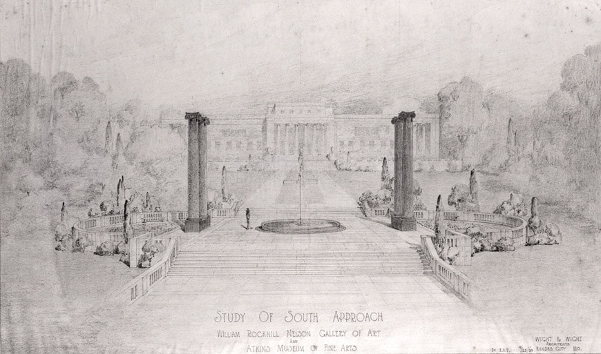 Wight & Wight Nelson Atkins Museum Kansas City drawing south facade 1930