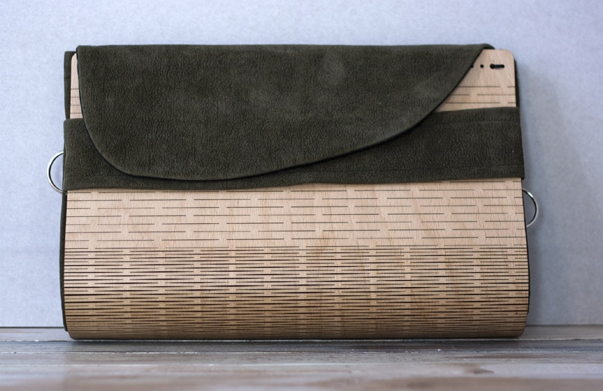 Janis Joplin handcrafted wood and eco-leather bags and clutches by Elena Ferrari 1