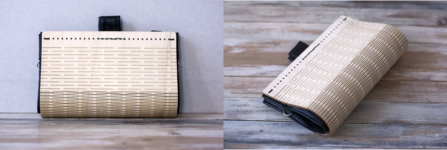 Linear handcrafted wood and eco-leather bags and clutches by Elena Ferrari 2