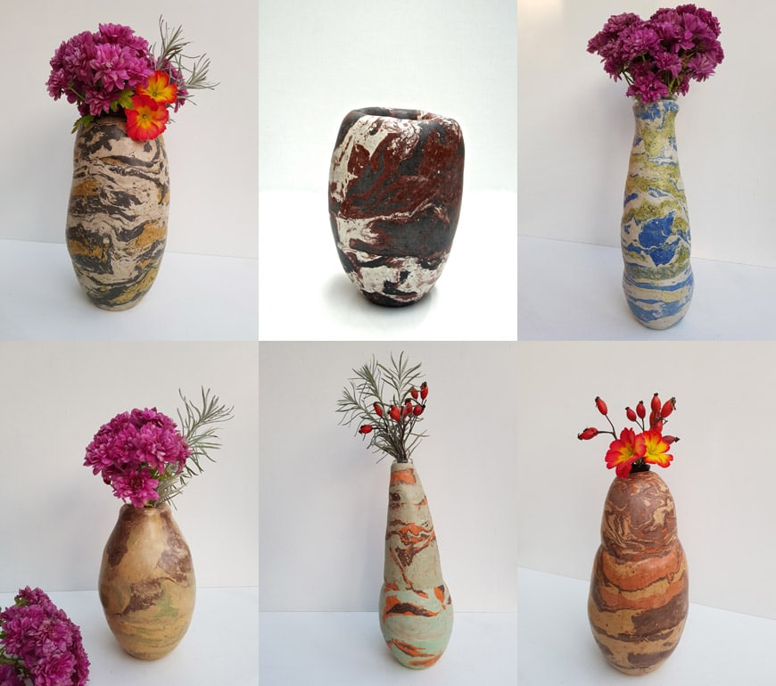 Nelly Bonati handmade vases in raw earth and plaster 3