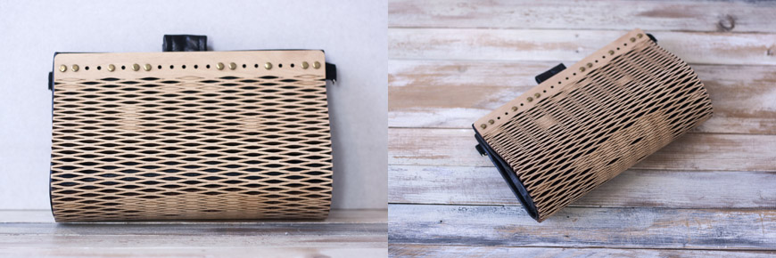 O'Riordan handcrafted wood and eco-leather bags and clutches by Elena Ferrari