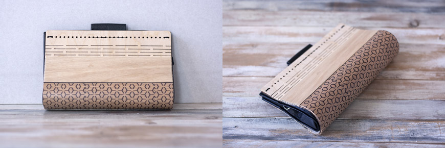 Yoko Ono handcrafted wood and eco-leather bags and clutches by Elena Ferrari