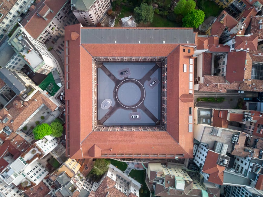 Audi fifth ring installation MAD architects Milan Design Week 2018 aerial