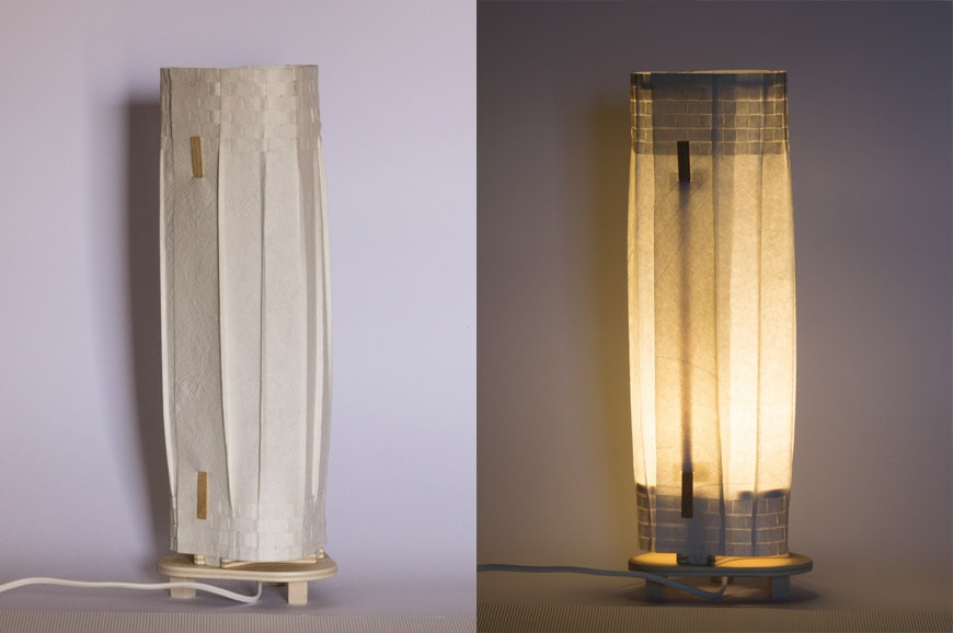 re-lamps intrecci handmade table lamp paper wood Terrestre low
