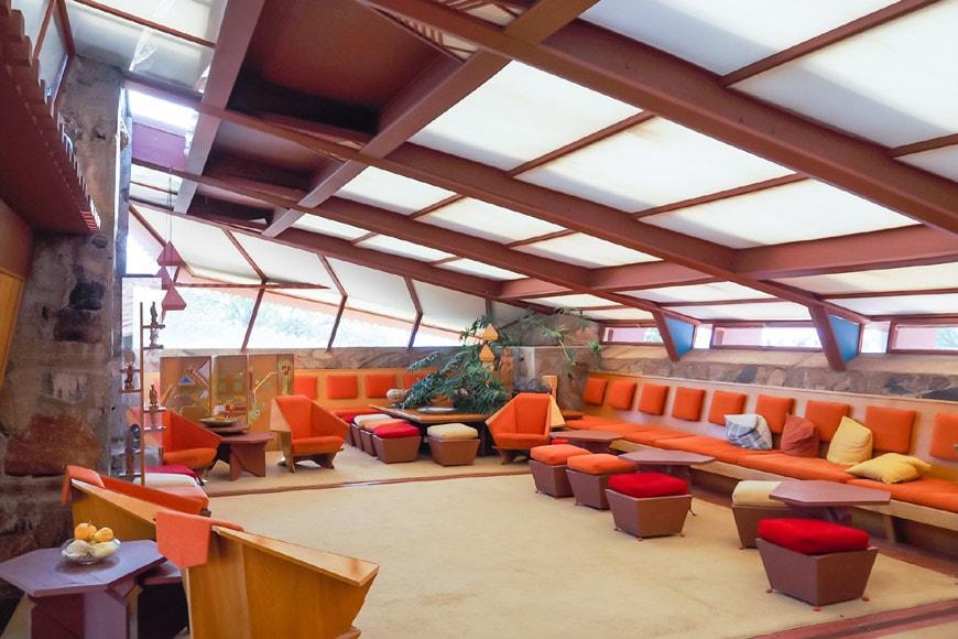 Frank Lloyd Wright Taliesin West Garden Room interior 2