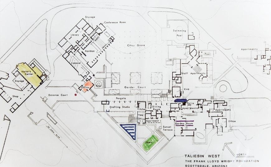 Frank Lloyd Wright Taliesin West Scottsdale site plan