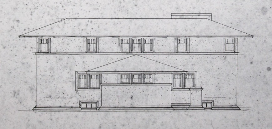 Barton House Frank Lloyd Wright Buffalo NY north elevation drawing