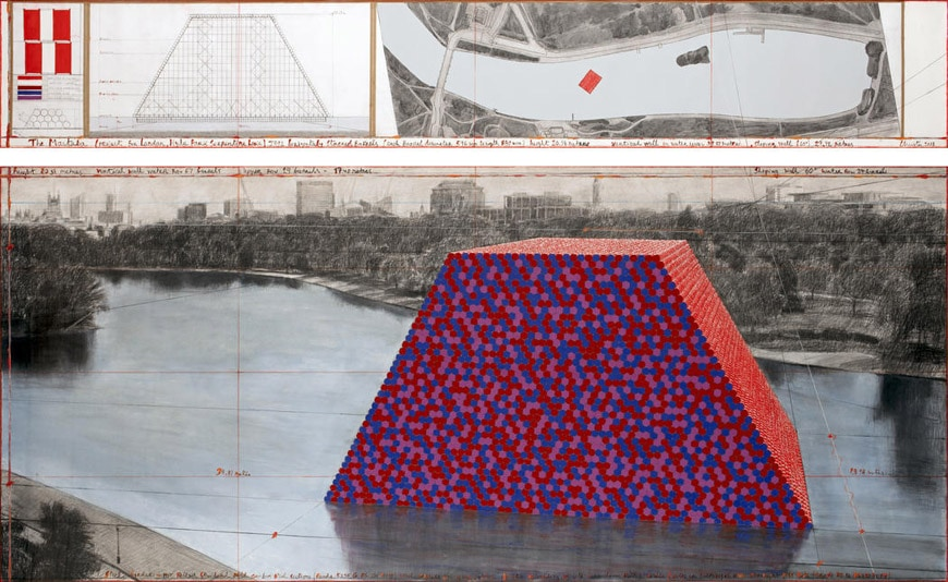 Christo London Mastaba floating installation Serpentine Lake Hyde Park 2018 drawing 2