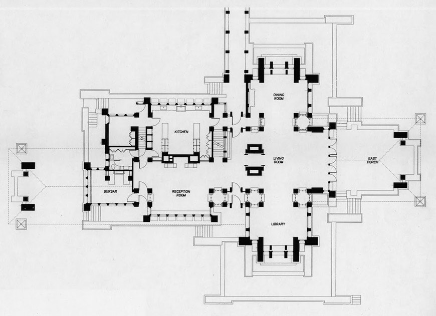 Darwin Martin House Frank Lloyd Wright Buffalo NY ground floor plan
