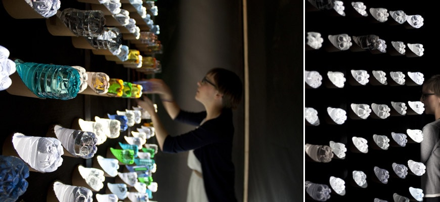 Upcycling-Saundsa-installation-plastic-bottles-inexhibit