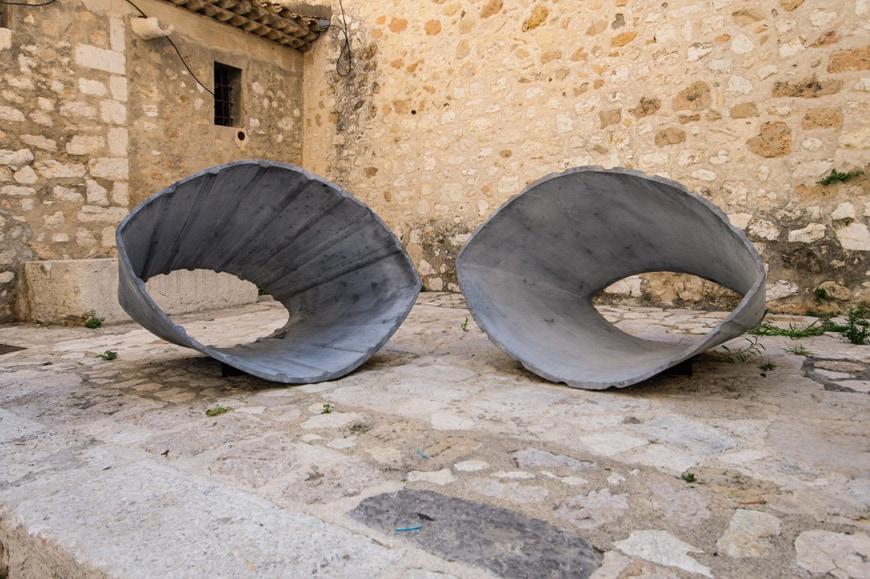 Vincent Barré, Deux anneaux cannelés, sculpture Saint Paul de Vence Biennale Inexhibit