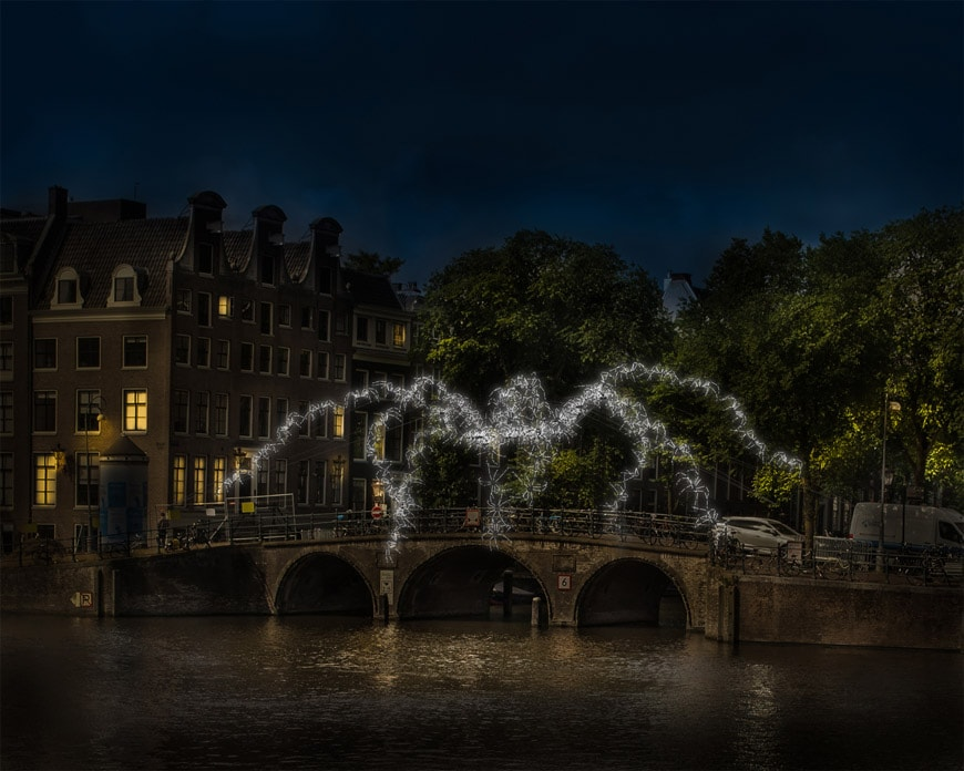 7th Amsterdam Light Festival 2018 2019Spider on the Bridge _ Groupe LAPS