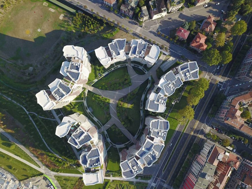 Daniel Libeskind Citylife residences Milan aerial