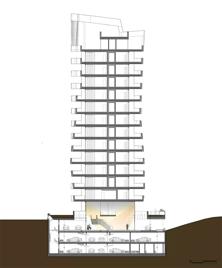 Daniel Libeskind Citylife residences Milan cross section