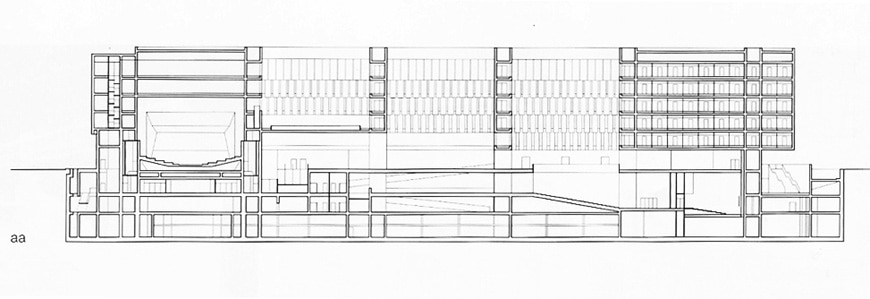 Grafton Architects Bocconi University Milan expansion longitudinal section