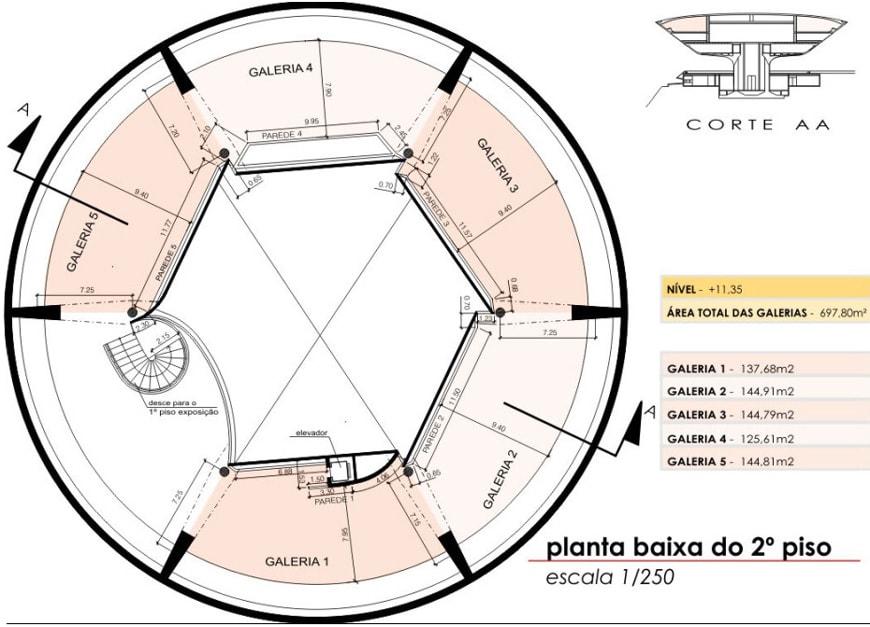 Museu de Arte Contemporanea de Niteroi Oscar Niemeyer level 2 plan