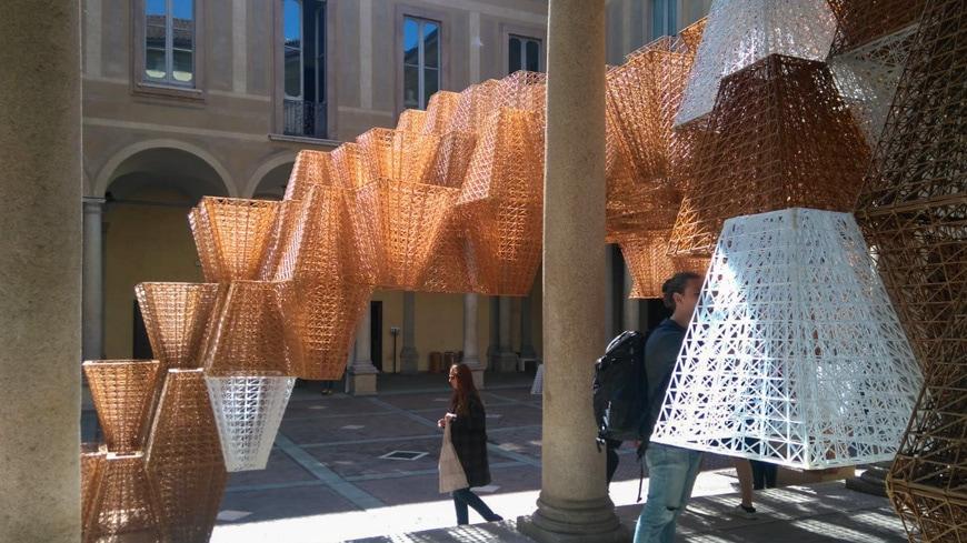 Conifera 3D-printed bioplastics installation COS+ Mamou-Mani2019 Milan Design Week Inexhibit 3