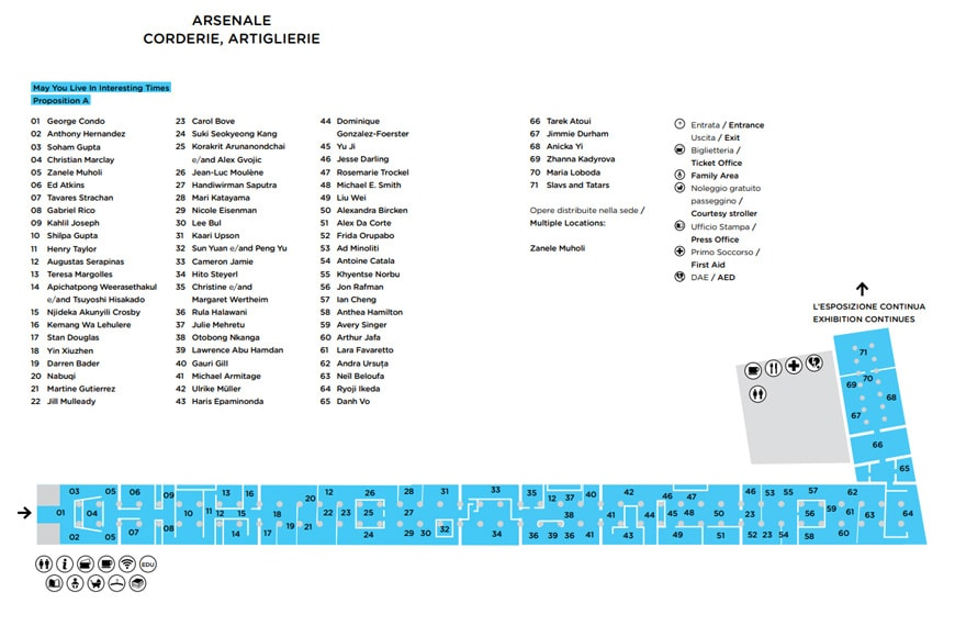 58th Venice Art Biennale 2019, Arsenale exhibition plan