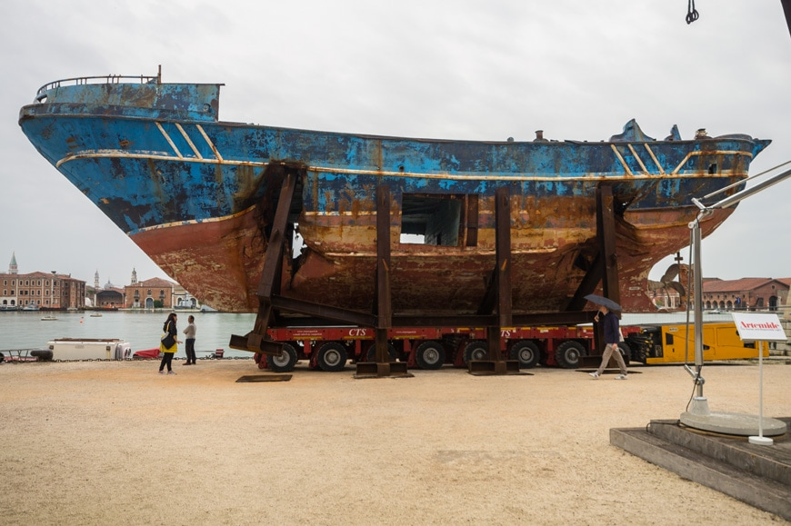 Christoph Büchel wreck sunken boat vessel migrants Venice Art Bennale 2019 Inexhibit