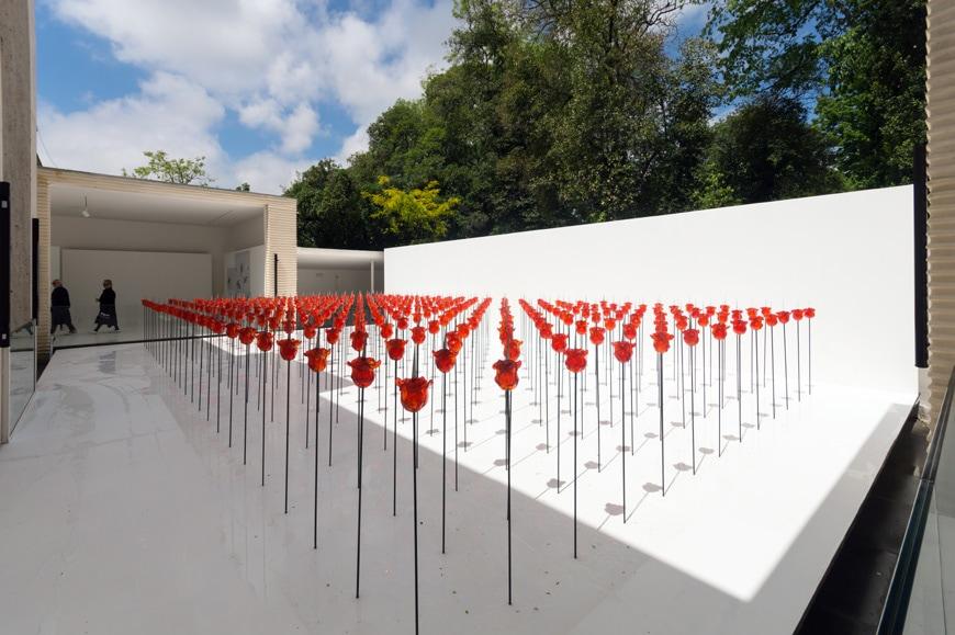Renate Bertlmann, Discordo Ergo Sum exhibition, rose field, Austrian Pavilion, Venice Art Biennale 2019 1 Inexhibit