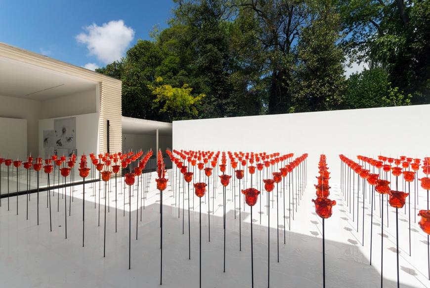 Renate Bertlmann, Discordo Ergo Sum exhibition, rose field, Austrian Pavilion, Venice Art Biennale 2019 6 Inexhibit