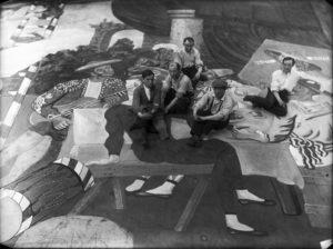 Pablo-Picasso-and-scene-painters-for-Parade-Ballets-Russes-at-the-Théâtre-du-Châtelet-Paris-1917