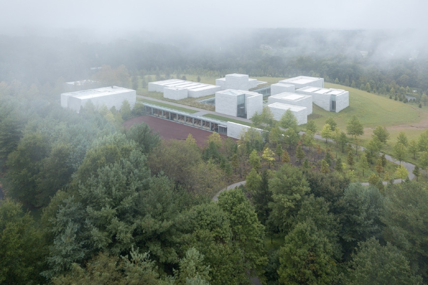 Glenstone art museum Potomac Maryland The Pavilions Thomas Phifer aerial view