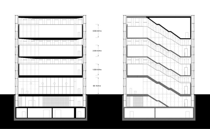 KUB Kunsthaus Bregenz, Peter Zumthor, cross-sections