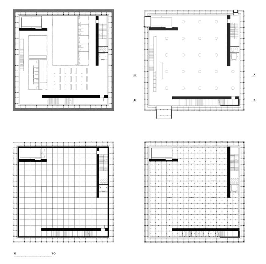 KUB Kunsthaus Bregenz, Peter Zumthor, floor plans