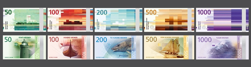 Snøhetta and Metric Design, new Norwegian banknotes