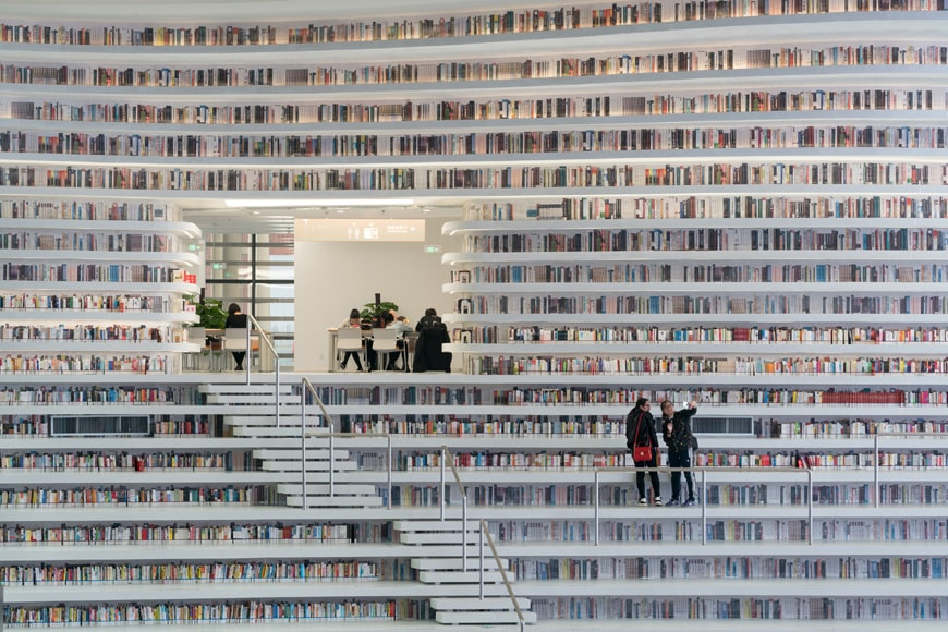 Tianjin Binhai Library MVRDV book shelves