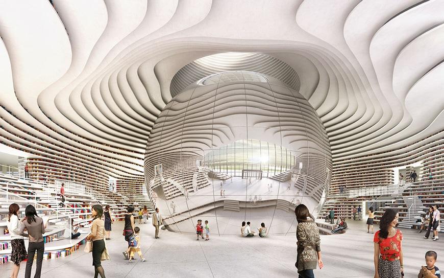 Tianjin Binhai Library MVRDV rendering