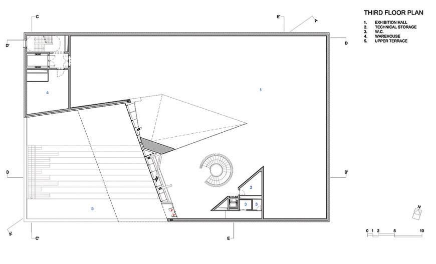 Daniel Libeskind, MO Museum Vilnius Lithuania, third floor plan